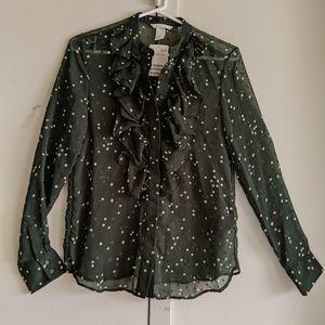 NWT Green blouse, polka dot